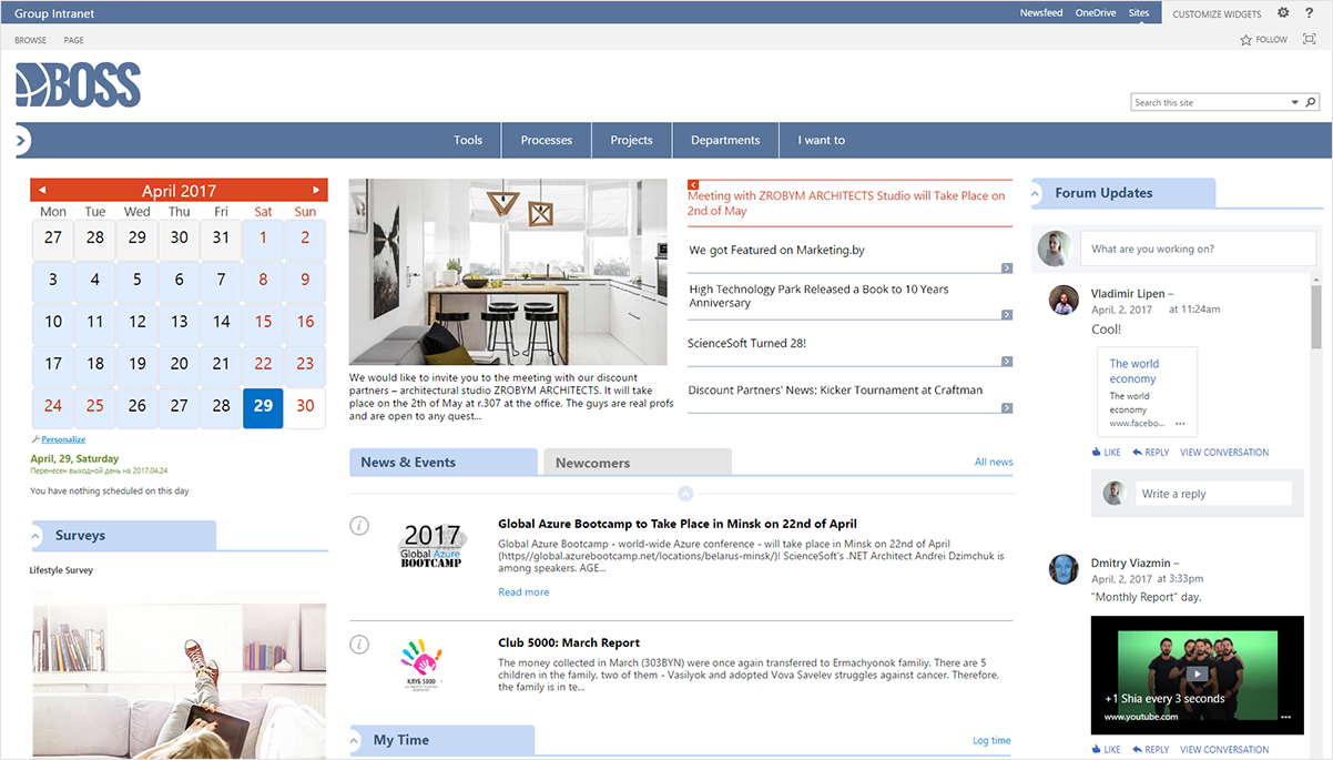 SharePoint-Intranet in ScienceSoft